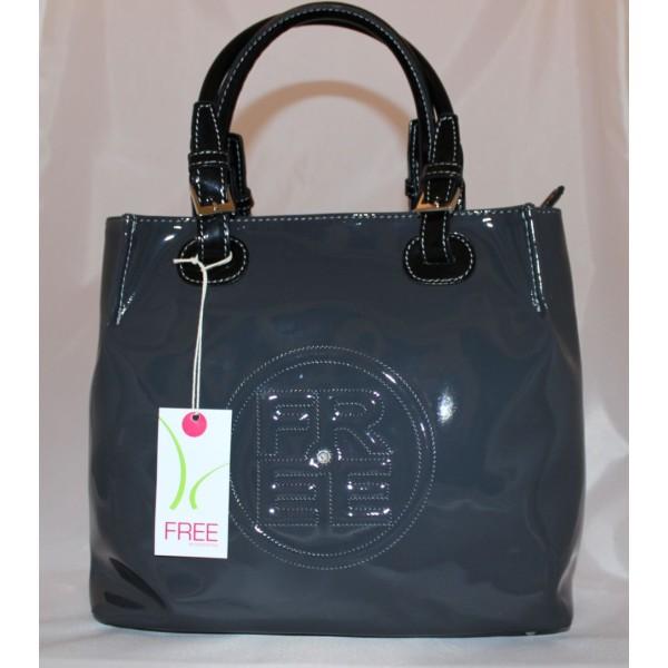 Borsa a mano  Free in materiale sintetico lucido di colore grigio con tracolla nera